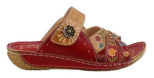 L'Artiste by Spring Step Women's Style Leigh Red Multi EURO Size 38 Leather Slide Sandal