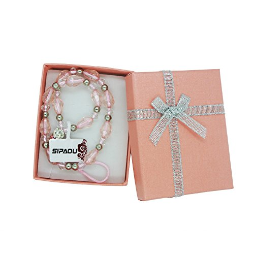 SIPAOU Women's Fashion Cell Phone Lanyard Strap, 7.8 Inch Bling Crystal Beads Hand Wrist Lanyard Strap String for Cell Phone Purse Camera MP3 MP4 iPod PSP Keychain, Gift Box Included(Short Pink) by SIPAOU (Image #3)