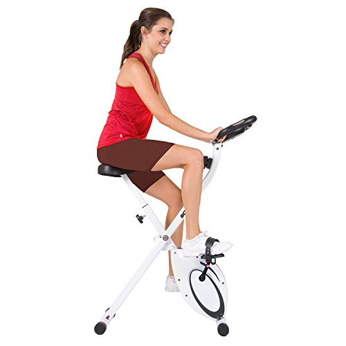 Folding Upright Exercise Bike with Heart Rate, Contoured Seat, & Extended Stability Handlebars