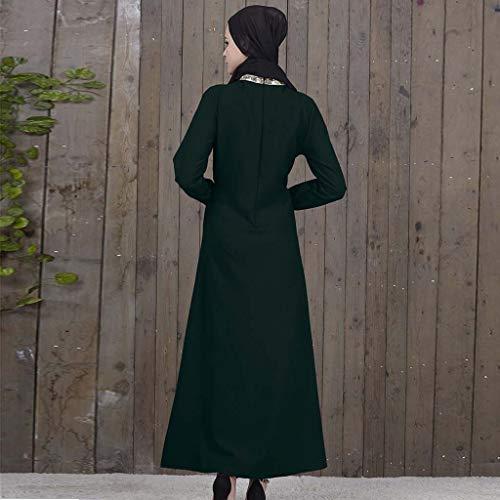 Ropa Islámica Manga Mujer Árabe Abaya Lentejuelas Vestido Verde Larga De Musulmana Kaftan Maxi wCqWPxY