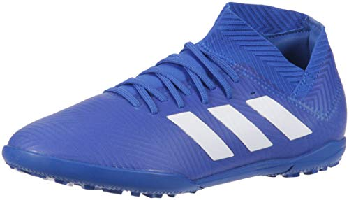 adidas Unisex Nemeziz Tango 18.3 Turf Soccer Shoe, White/Football Blue, 2 M US Little Kid