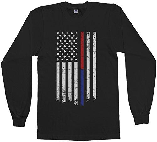 Threadrock Men's Thin Red & Blue Line American Flag Long Sleeve T-shirt L (Red Blue T-shirt)