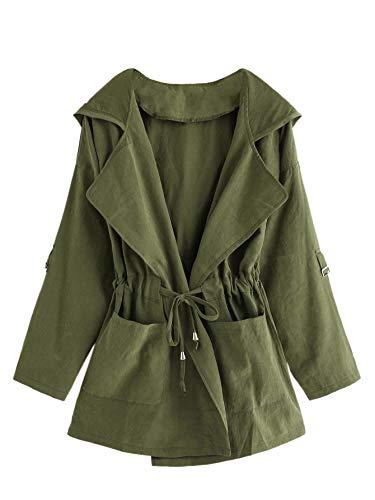 (Romwe Women's Plus Long Sleeve Drawstring Waist Solid Pleat Lapel Hooded Coat Cardigan Army Green 2XL)