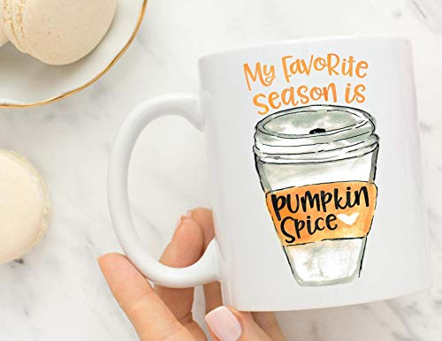 My favorite season is pumpkin spice, fall mug, gift for her, pumpkin spice, halloween gift, pretty me pink, etsy