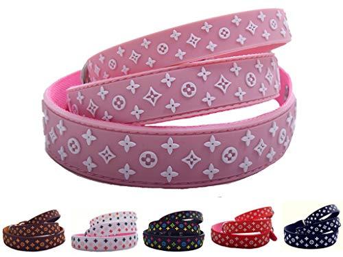 Lushpetz Designer Black Brown White Dog Pet Puppy Collar Waterproof XSmall Small Medium (Small/Medium, Pastel Pink) ()
