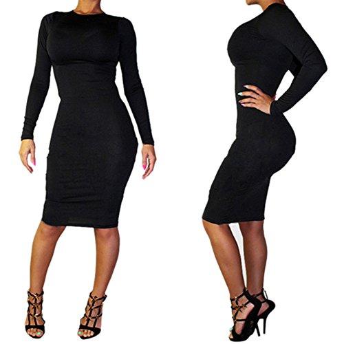Alralel Women Sexy Long Sleeve Skinny Solid Clubwear Party Overhip Pencil Dress L Black