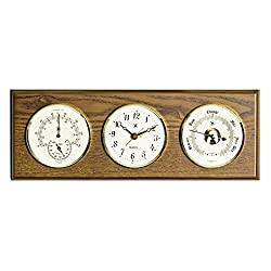 Kensington Row Coastal Collection WEATHER STATIONS -GLOUCESTER CLOCK, BAROMETER & THERMOMETER/HYGROMETER ON OAK BASE