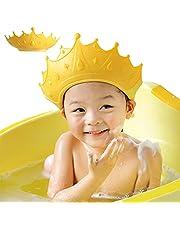 FUSACONY Baby duschmössa skärm, duschmössa för barn, visir hatt för ögon och öron skydd för barn 0-9 år, söt kronform gör babybadet roligare (gul)