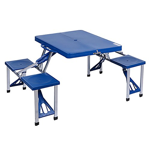 Portable Picnic Table Folding Camping Outdoor Garden Yard Suitcase 4 Seats Blue Useful Product by Sustainables