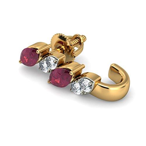 14K Or jaune 0,14CT TW White-diamond (IJ | SI) et rubis Boucles d'oreilles créoles