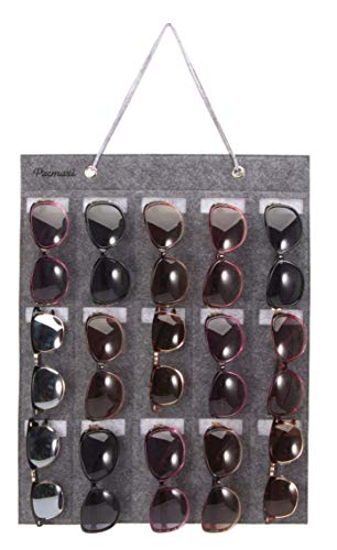 PACMAXI Sunglasses Organizer Storage, Wall Pocket by Sunglasses 15 Slots Felt ()