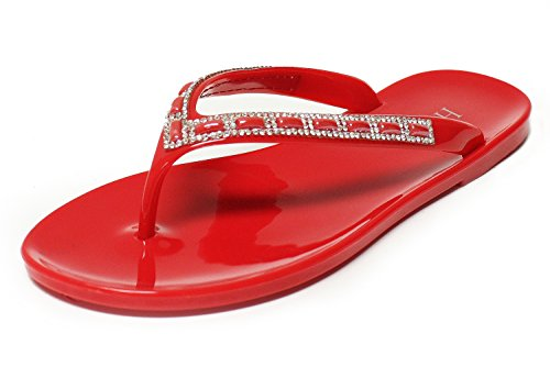 Jellies Embellishments - H2K Jelly Flip Flops, Crave' Women's Beach Jelly Flat Flip-Flops [Thong Sandal] Shoes with Rhinestone Costume Jewelry Embellishment Strap - Red Size 8 [US Size]