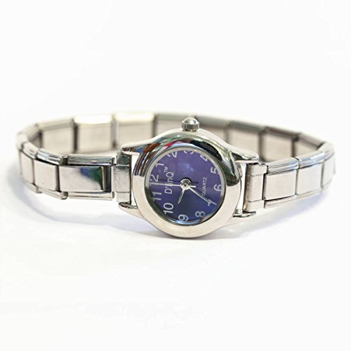 Purple Round Italian Charm Watch Silvertone Band ww101lavender