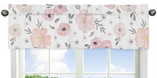 Sweet Jojo Designs Blush Pink, Grey and White Window Treatment Valance for Watercolor Floral Collection
