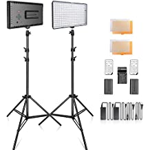 SAMTIAN 2-Pack 240PCS Dimmable LED Video Light 3200K/5600K Panel Light and 79Inch Stand Lighting Kit with Remote Control Carry Case for YouTube Studio Photography, Video Shooting, Livestreaming