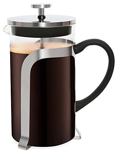 Cuisine Trend French Coffee Press & Tea Maker | 34 Oz 8 Cups – FDA Certified, Strong 2mm Borosilicate Glass & Food Safe Stainless Steel – Ergonomic Non-Slip Handle, Stable Base, Effective Filter
