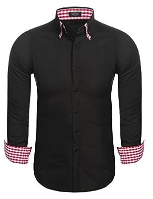 COOFANDY Men's Long Sleeve Shirt Plaid Inner Contrast Collar Casual Button Down Dress Shirts