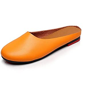 SUNROLAN Women's Leather Casual Slip-On Outdoor Scuff Backless Slipper Mule Loafer Flats Shoes