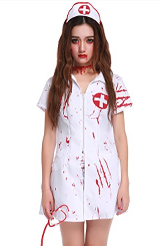 TC-Fashion Zombie Nurse Halloween Costume Women with Stethoscope