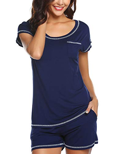Ekouaer Women Pajamas Set Sleepwear Pjs Sets Cami Short Sets Sexy Nightwear(Navy Blue,Small)