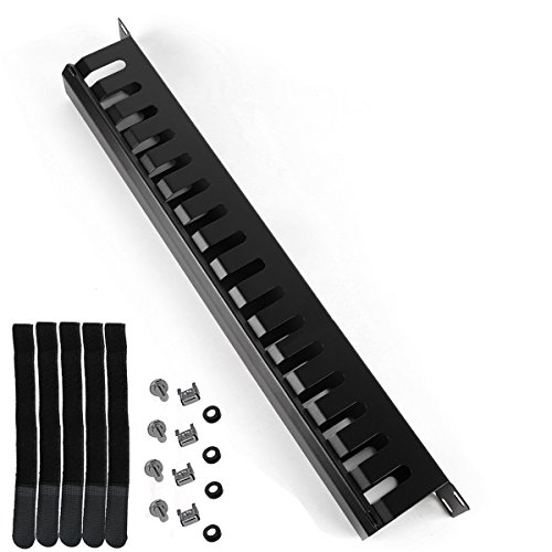 Lancher 1U 19 Inch Rack Mount Horizontal Cable Management with mounting Screws 16 Slot Cable Manager Finger Duct with Cover