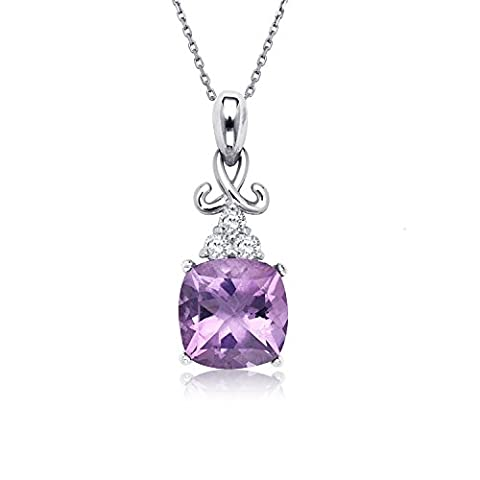 Sterling Silver Cushion-Cut Amethyst Gemstone & White Topaz Pendant with 18