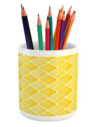 Ambesonne Yellow Pencil Pen Holder, Moroccan Trellis Pattern in Yellow Tones Vintage Eastern Pattern, Printed Ceramic Pencil Pen Holder for Desk Office Accessory, Mustard Yellow White ()