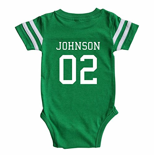 Rocket Bug Custom Football Sport Jersey Baby Bodysuit Personalized With Name and Number (Newborn, Vintage Green)