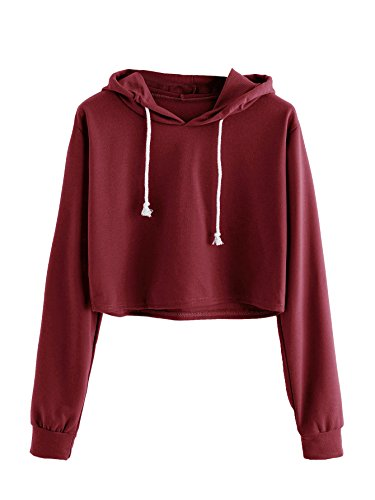 (MAKEMECHIC Women's Long Sleeve Pullover Sweatshirt Crop Top Hoodies Red L)