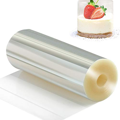 Cake Collars 5.5 x 394inch - Picowe Clear Acetate Strips, Transparent Acetate Roll, Mousse Cake Collar for Chocolate Mousse Baking, Cake Decorating