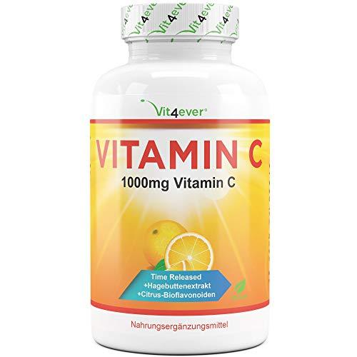 Vit4ever® Vitamin C 1000mg - 365 Tabletten im Jahresvorrat - Time Released Effekt - Laborgeprüft - Vitamin C + Hagebuttenextrakt + Citrus-Bioflavonoide - Vegan & Hochdosiert