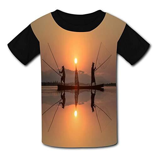Cast Net Fishing Child Short Sleeve Fashion T-Shirt of Boys and Girls L ()