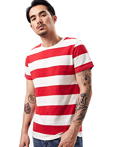 Zbrandy Wide Striped T Shirt for Men Sailor Tee Red White Black Navy Stripes Top - Striped Shirt Red And White