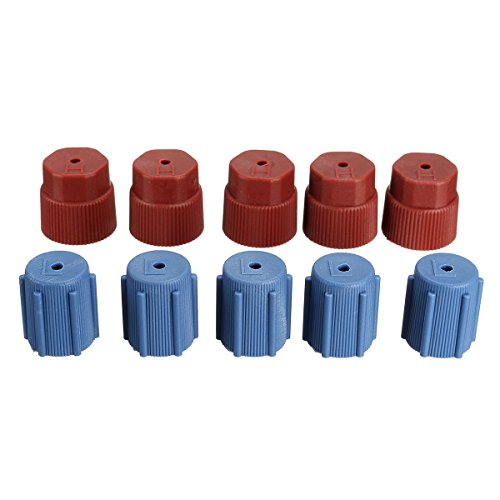 Service Port Fitting (10Pcs/Set R134a 5 Blue Low 13mm & 5Red High 16mm Air Conditioning Service AC System Charging Port Caps (5Red High & 5Blue Low))