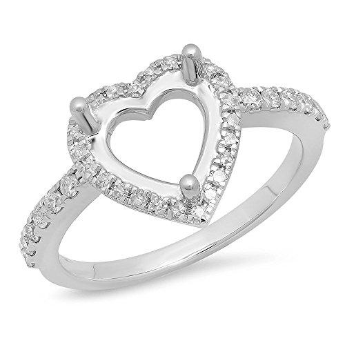 0.30 Carat (ctw) 14K White Gold Round Cut White Diamond Semi Mount Engagement Ring 1/3 CT (Size 9)