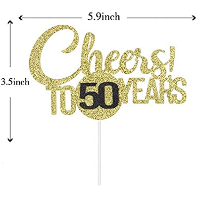 Cheers! To 50 Years Cake Topper, Happy 50th Birthday, Wedding Anniversary Party Decoration, 50 Years Blessed, Cheers & Beers to 50, Company Anniversary, Double Color Gold and Black Glitter: Toys & Games