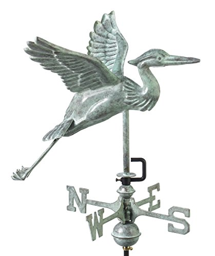 Good Directions Blue Heron Garden Weathervane, Includes Garden Pole, Blue Verde Copper, Patina