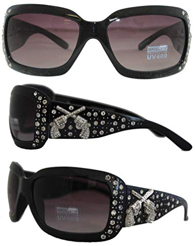New Western Rhinestone Concho - Montana West Ladies UV 400 Crossed Pistols Concho Sunglasses, Black