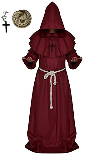 Plus Size Hooded Monk Robe Costumes (Men's Halloween Medieval Monk Hooded Robe Priest Tunic Cosplay Costume Cloak (Medium, Red))