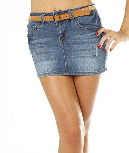 Jean Denim Mini 5 Pocket Skirt With Braided Belt Juniors - Dark Blue, Size - XSmall (Denim Juniors Blue Jeans)