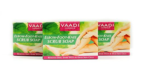Cleanser Skin Normal Elements (Elbow Foot Knee Scrub Soap (Bar Soap) with Almond and Walnut Scrub - Clears Out Dead Skin Cells Making Them Softer, Cleaner and Fairer. Also Removes Dark Spots, Blackheads, Pigmentation, Dry Patches and Prevents Skin Outbreaks. Keeps Away Boils That Are Caused By Dirt and Germ - Handmade Herbal Soap (Aromatherapy) with 100% Pure Essential Oils - ALL Natural - Best Natural Skin Moisturizer - Each 2.65 Ounces - Pack of 3 (8 Ounces) - Vaadi Herbals)