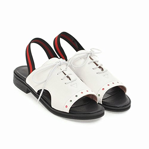 Carolbar Women's Western Concise Flat Slingback Lace Up Casual Sandals White IE4hu