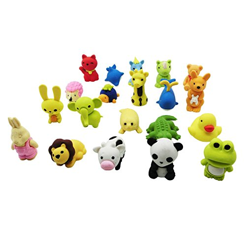 20 Animal (MoloTAR 20 Animal Collectible Set of Random Adorable Novelty Erasers - Amazing Variety with No Duplicates - FUN Toys Best for Party Favors)