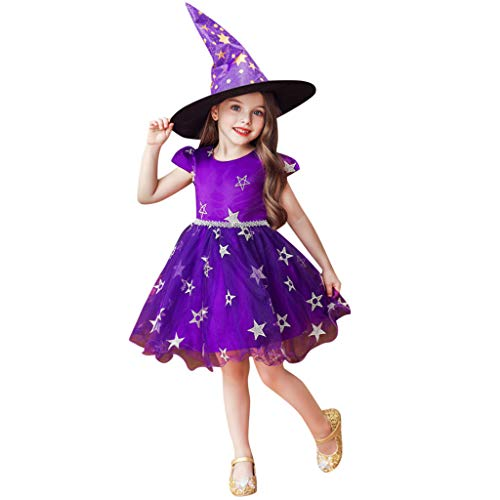 Miuye yuren-Baby Halloween Costumes for Toddler Girls Short Sleeve Princess Performance Formal Dress and Witch Hat Purple