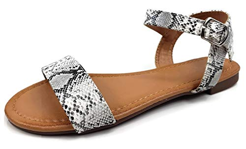 (Wells Collection Womens ANIBEL Studded Over The Toe Sandal Flat with Ankle Strap, Snake 8.5)
