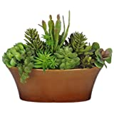 House of Silk Flowers Artificial Succulent Garden in Oval Ceramic