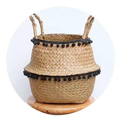 Foldable Organizer Storage Basket Folding Wicker Basket Rattan Basket Garden Flower Pot Planter Laundry Basket,Black,22X20CM -