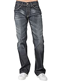 Mens Relaxed Bootcut Faded Black Premium Denim Jeans Blizzard Whiskering