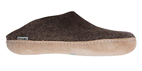 Glerups B-04: Unisex Model B Naturebrown Wool Felt Slipper (40 M EU)