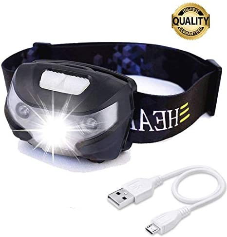 HFAN USB Rechargeable LED Headlamp, Head Lamp 1X White, 2X Red Super Bright, Waterproof, Lightweight Headlamps with SOS for Running, Walking, Camping, Reading, Hiking, Outdoor Sports etc Black